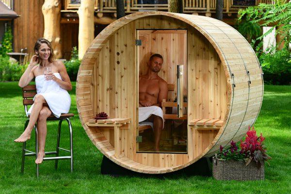 Sauna extérieur forme de baril Lille Arras Douai