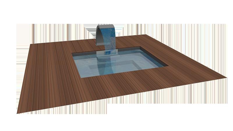 jacuzzi extérieur naturel encastré avec fontaine
